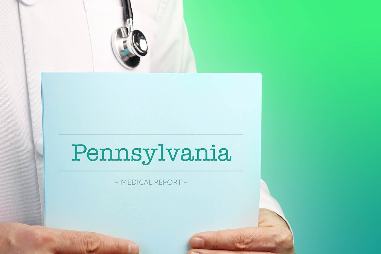 doctor with stethoscope reviews Pennsylvania state malpractice insurance requirements
