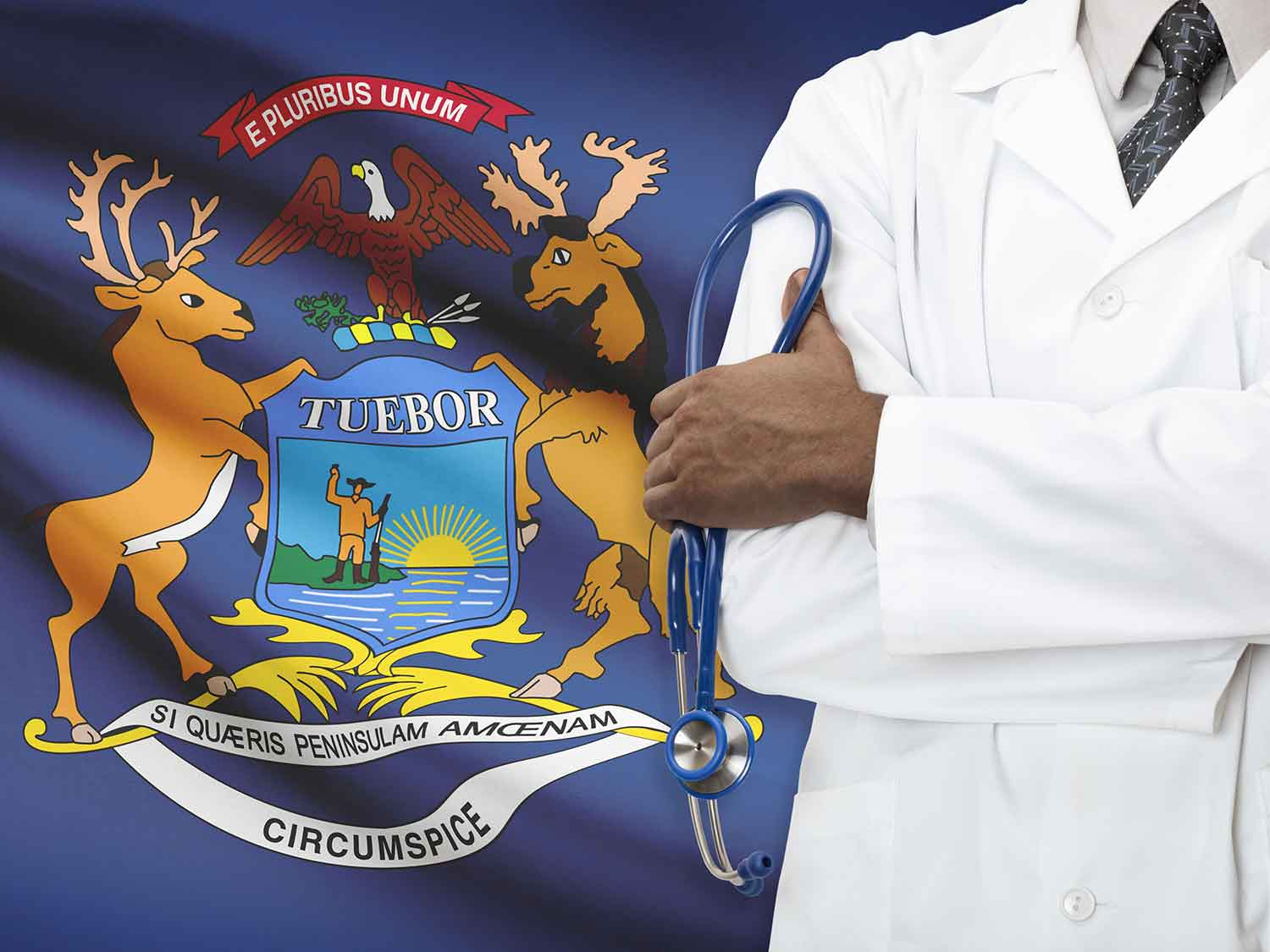 A Surgeon With Liability Coverage From MEDPLI Standing In Front Of The Michigan Flag